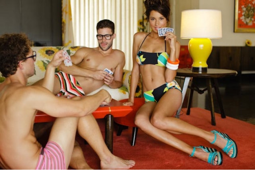 Game On! Arthur Keller and Ben Wadell in Mr Turk take on the lovely Nikki Huey in Trina Turk. Poker Face Follow Mr Turk on Facebook, Pinterest, Twitter, Instagram, and Trendabl