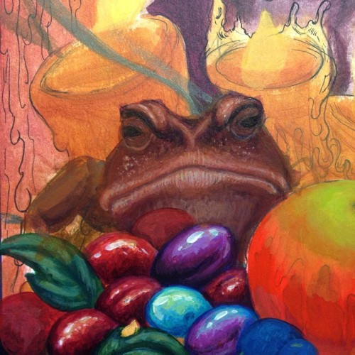 Every fairy vat needs a grumpy toad to stand guard #fairy #berries #toad #lowbrow #gingerjess