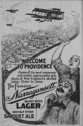 "Narragansett ad in the Providence Journal from September 1911 welcoming the ""Flying Machines"" to Providence. Read the full story on their Time Lapse Blog - Flying machines over RI: When, where, why the fuss? http://blogs.providencejournal.com/arts-entertainment/lifestyles/time-lapse/2013/05/flying-machines-over-ri-when-where-why-the-fuss.html"