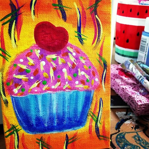 I'm #done #with #this #painting #cupcake #tonight#art #lesson #free #420 #munchies #cookie #barbie #girl
