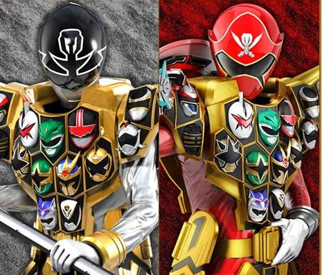 Gokai red ( gold mode ) and gokai silver ( gold mode )   GIN GIN  NI Dou Hade NI IKUZE!!!! :)