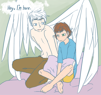 rainbowbarfeverywhere:   Guardian Angel AU: It's when Hiccup is ten and alone in his room, just sitting there because that's it, he's given up, because no one wants to play with the weird kid and his dad's only getting more distant as his prestige flourishes. It's when Hiccup asks himself, 'Why won't anyone like me?' and Jack answers, 'Hey, I like you. I'd always be here even if you weren't chosen for me.' That's when Jack begins to look at Hiccup as something more than his charge.  Full View (click download) Yeah, this was supposed to have textures and shit but then I got pissed off because I didn't like how it looked like and I said fuck. YES I SPENT TWO HOURS FOR NOTHING OTL I give up on everything and Hiccup looks older than ten /shrug. Also, how does one draw feet? Or anatomy? Or wings, even?