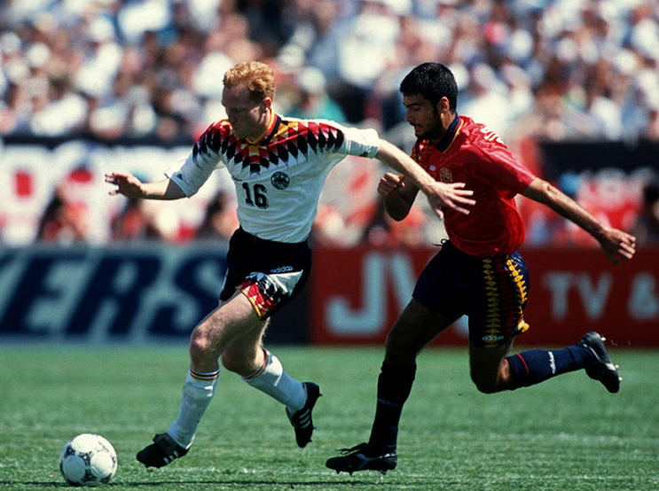 Matthias Sammer vs. Pep Guardiola - Germany vs. Spain at the 1994 World Cup.  Nearly 20 years later, the two will now work alongside each other at Bayern Munich in managerial roles.