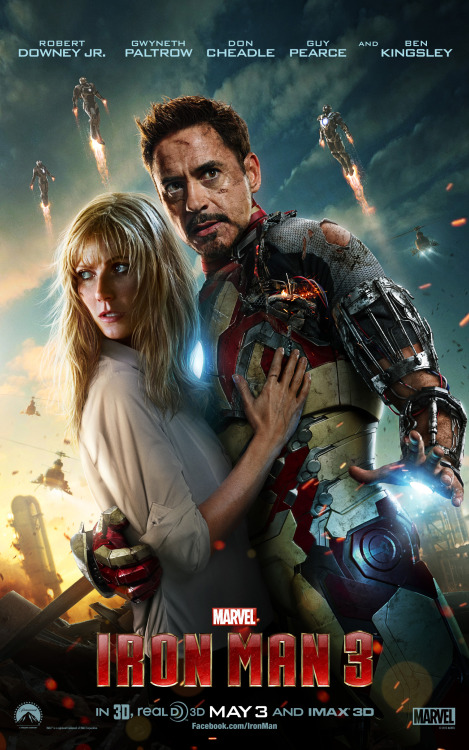 Check it out, Iron Man fans! Tony Stark (Robert Downey, Jr.) and Pepper Potts (Gwyneth Paltrow) embrace on the latest poster for Marvel's Iron Man 3!