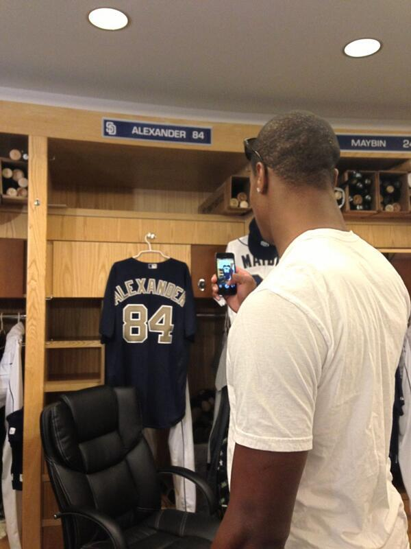 Here's @d_alexander84 checking out his locker in the clubhouse- right next to @spidermayb24