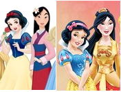 "feministdisney:  Okay just to clearly illustrate what has happened with Mulan, here is a convenient side by side where we discover that they have made her paler than Snow White. The character who is literally named after the paleness of her skin. Let's all let that sink in for a moment. She's not wearing her matchmaker scene makeup, she is apparently just now paler than ""the fairest of them all."" The picture on the left is their movie designs while the right is their new redesigns. (Sorry about the small size, this was all I could dig up as far as group pictures where they were standing next to each other.)"