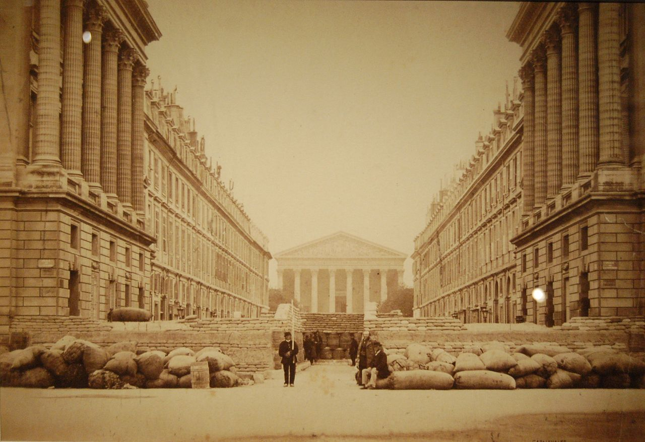 The Madeleine seen from the barricaded Rue Royale during the Commune de Paris in 1871, Paris