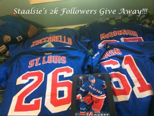 staalsie:  alright y'all I hit 2k so it's time for my give away!!! this give away includes: Zuccarello shirsey (adult small) St Louis shirsey (adult small) McDonagh shirsey (adult small) Nash SCF shirsey (adult small) and a photo I personally got Taylor Pyatt to sign!!! rules: you may reblog this as many times as you want you don't have to be following me but that would be nice :))) you must be comfortable giving me your address, I will pay for shipping. you have until August 1st to reblog this, so make sure to have your ask box open by then!!! good luck!!!