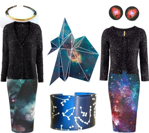 Heaven vs Hell by katlix-design featuring a bangle braceletH&M sequin top, $48 / H&M , $40 / Tube skirt / Topshop purple skirt / Hemisphere bangle bracelet / Bracelet / Earrings / If I Could I Would Give You the Entire Universe II 8 x 10 Inch Print -…
