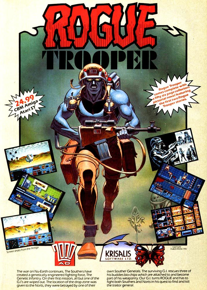 "90s video game ad for 2000 AD's ""Rogue Trooper"", 1990"