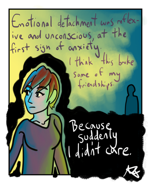 infjdoodles:  It's hard when you come to and realize how deeply you care. It can lead to a contrast between how things were when you last cared and what they have become.