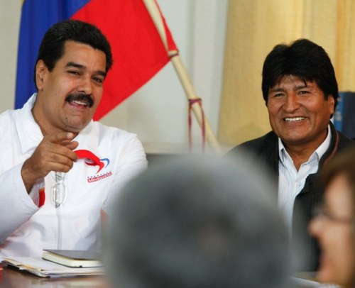 Evo Morlaes with Nicolas Maduro