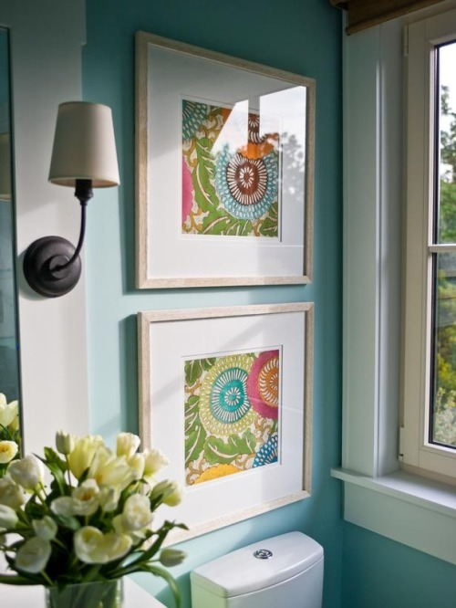 Pin of the Day: Framed fabric swatches - easy to switch out to update your decor!