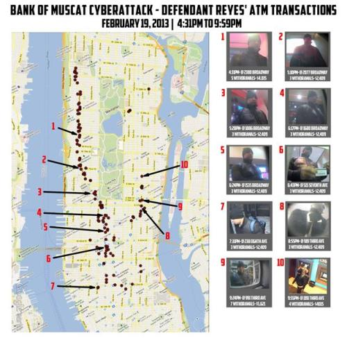 Great map of ATM robberies down Manhattan .. (via Feds in NYC: Hackers stole $45M in ATM card breach)