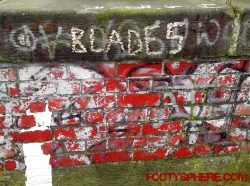 Sheffield United football graffiti - a railway bridge somewhere in Rotherham
