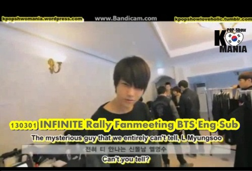 kpopshowloveholic:  130301 INFINITE Rally Fanmeeting BTS Eng Sub Part 1 ~ part 2 Brought To You By Kpopshowmania For more Kpop Shows with Eng Sub visit our site kpopshowmania.wordpress.com DO NOT TAKE THE LINKS OUT!  JUST LINK BACK  http://kpopsholoveholic.tumblr.com/ Follow @twitter.com/Kpopshowholic facebook: http://www.facebook.com/boomshakalaaka