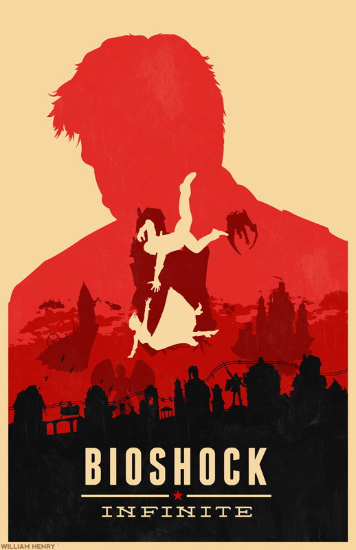 Bioshock Infinite poster by William Henry Prints available on Etsy at https://www.etsy.com/listing/129418161/bioshock-infinite-poster ——— View my portfolio at http://www.williamhenrydesign.com. Please get in touch. I would love to work together on a project. You can also follow me on Twitter at http://www.twitter.com/billpyle and on Facebook at http://www.facebook.com/williamhenrydesign.