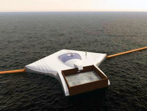 unconsumption:   19-year-old Boyan Slat has unveiled plans to create an Ocean Cleanup Array that could remove 7,250,000 tons of plastic waste from the world's oceans. The device consists of an anchored network of floating booms and processing platforms that could be dispatched to garbage patches around the world. Instead of moving through the ocean, the array would span the radius of a garbage patch, acting as a giant funnel. The angle of the booms would force plastic in the direction of the platforms, where it would be separated from plankton, filtered and stored for recycling.  Read More   Via BoingBoing  Also on the ocean-garbage front: We've covered various responses to the Pacific Garbage Patch, here, and here.    YES PLEASE omg