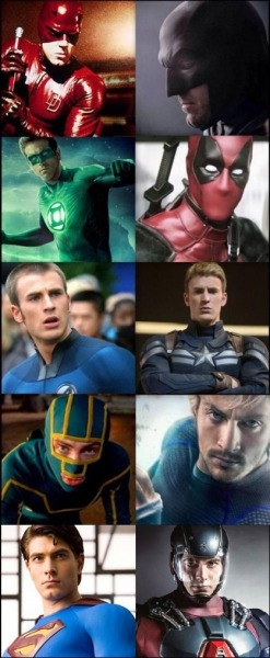 Chris Evans Ryan Reynolds heroes Brandon Routh Ben Affleck aaron taylor-johnson actores