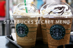 "tipsfortumbler:  So this is the secret menu at starbucks, you just ask for it using the name.    French Press: Starbucks will brew any of the coffee they sell in a French Press. Green Eye: Three shots of espresso. (Note: At some Starbucks it's called a Blue Eye.)Dirty Chai: A Chai latte (hot or iced) with a shot of espresso. Two shots makes it a ""Double Dirty"" or ""Extra Dirty"" Chai.Zebra Mocha: Sometimes called a ""Penguin Mocha,"" a ""Marble Mocha,"" or a ""Black and White Mocha,"" this drink mixes the white chocolate mocha with the regular mocha. Adding raspberry flavor makes it a ""Red Tux"" Mocha.Chocolate Dalmatian: A White Chocolate Mocha with java chips and chocolate chips sprinkled in.Cake Batter Frappuccino: Originally vanilla and almond syrup added to a Vanilla Bean Crème Frappuccino. Since almond syrup is largely unavailable, some recommend subbing in hazelnut syrup and white mocha.Captain Crunch/Crunch Berry Frappuccino: A combination of hazelnut syrup (though some folks contend it should be toffee nut) with a Strawberries and Creme Frappuccino.Triple C's: Cinnamon Dolce Latte with caramel syrup and chocolate mocha syrup. ""Short"" Drink: The Tall drink's smaller, less expensive younger brother.Widow Maker: Half iced black tea, half iced black coffee. Super Cream Frappuccino: Ask for a ""Super Cream"" version of your Frappuccino and you'll get half a cup of whipped cream blended in.Affogato-Style Frappuccino: Order any Frappuccino ""affogato-style"" and you'll get a shot of hot espresso on top of instead of it being blended in.Biscotti Frappuccino: You have to have to buy a package of biscotti cookies separately and ask your barista to blend them into your Frappe.Reader-Suggested Secret Menu DrinksSamoa Frappuccio: Mocha coconut Frappuccino with caramel drizzle.Thin Mint Frappuccino: Tazo Green Tea Crème Frappuccino blended with chocolate syrup and java chips.Snickers Frappuccino: Java Chip Frappuccino with two pumps of toffee nut and a caramel drizzle.Banana Cream Pie Frappuccino: Vanilla Bean Creme Frappuccino with vanilla and hazelnut syrups, whipped cream, and a whole banana.Apple Juice Orange Blossom: Tazo Orange Blossom Tea steeped in steamed apple juice (with no water).Grasshopper Frappuccino: Mocha Frappuccino blended with java chips and peppermint syrup.The Dirty Hippy: Dirty Chai Tea Latte with soy milk instead of regular milk.Marble Mocha Macchiato: White mocha on the bottom with no whip, shot on the top and mocha drizzle.Cookies & Cream Frappuccino: A White Chocolate Mocha Frappuccino blended with java chips and a dash of peppermint syrup.Cinnamon Roll Frappuccino: Vanilla Bean Crème Frappuccino and cinnamon dolce syrup.Bootleg Brulée: Add two shots to a white mocha, toffee nut syrup, and caramel drizzle.  Check out my personal blog: http://bonit-a.tumblr.com"