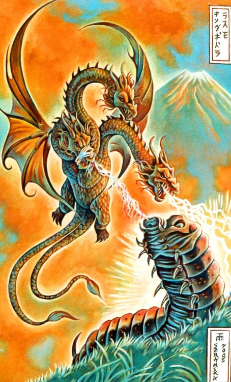 scotchtrooper:  (via Mothra vs. King Ghidorah by ~rainesz on deviantART)