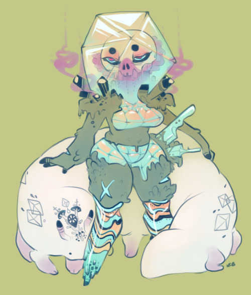 theveryworstthing:  a cavecrystal mercenary and her faithful riding grub. i think their names are Mona and Pepe. still trying to force myself to sketch through artblock 2013. art, you so cray.