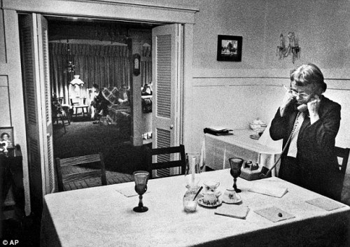 "Ted Bundy's mother, Louise Bundy in 1989 on the phone with her son minutes before he was executed. She said to him, ""You will always be my precious son."" as she began crying."