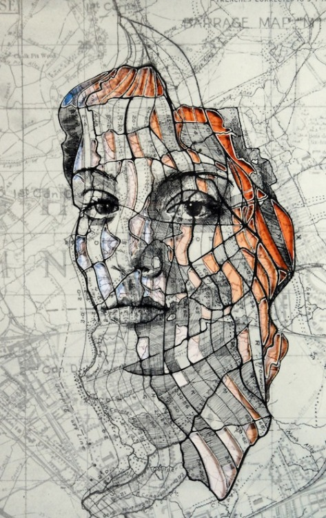unicorn-meat-is-too-mainstream:   New Portraits Carved from Old Military Maps  Artist Ed Fairburn has recently come out with new works that live somewhere between sculptures and drawings. He's still using traditional ink to draw on maps but now he's cutting and layering maps to create incredibly intriguing works.