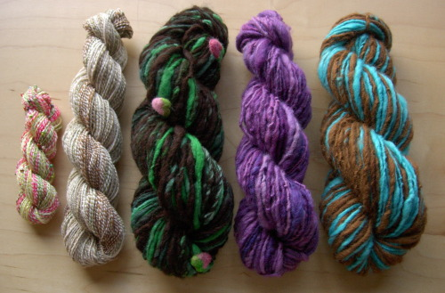 My latest creations! These handspun yarns are going to be added to my shop soon.