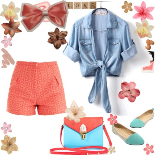 "Hang Out! by hsnhnf featuring summer shoesSophie Hulme high waisted shorts / Summer shoes / Red handbag / Clips hair accessory / Hair accessory / Butter London nail polish / Urban Decay beauty product / Valentine's Day Gifts For Her - 20 Gifts Under $40 - Redbook / Flower Hair Clips, Silk Flower Hair Clips, Hair Pins and Accessories / Flower Hair Clips, Silk Flower Hair Clips, Hair Pins and Accessories / 4"" Ivory Vintage Style Lilly Hair Clip for $7.00"