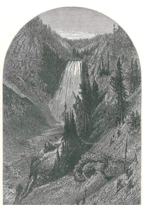 Yellowstone Lower Falls Antique Print 1895 Art Engraving at CarambasVintage http://etsy.me/YDfQkA
