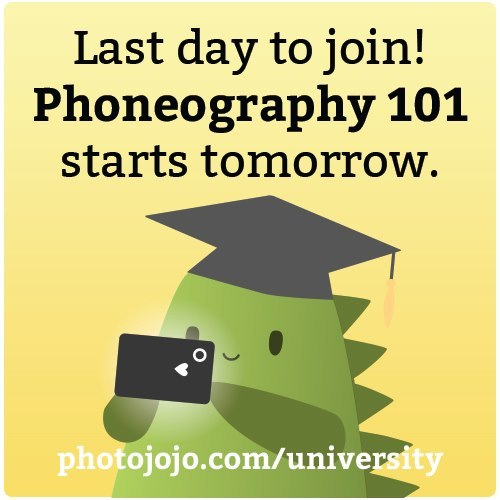 Just a reminder, today's the LAST DAY to join Phoneography 101 before we kick off another round tomorrow.In case ya haven't heard, it's our course on improving your phoneography for both iPhone & Android.Last chance to join Phoneography 101