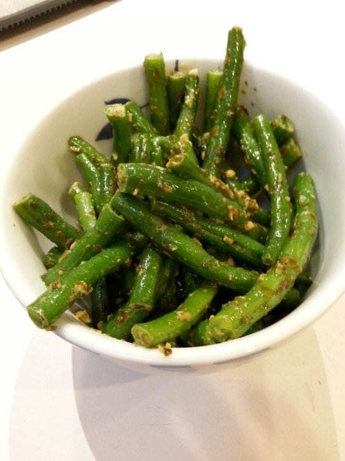 Fresh green beans with a little pesto.  So delicious!