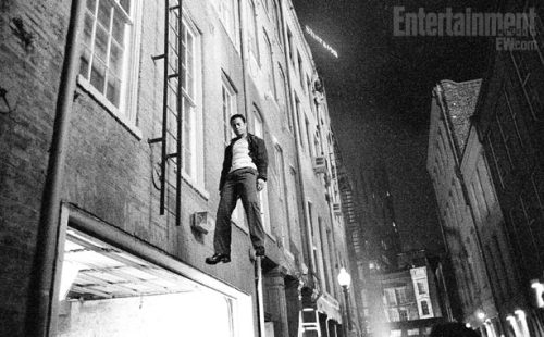 "When Joe does fall from the ladder, Gordon-Levitt was rigged up for safety on what turned out to be a very special day for the star. ""This was on Joe's 30th birthday,"" says Johnson. ""We had him hanging there in the air as we sang happy birthday to him and wheeled out a tray of cakes"" he adds with a laugh."