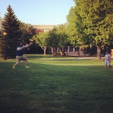 Discovered the secret to a happy life today…frisbee. We played for a few hours and interacted with a stranger and his puppy. Both played frisbee with us for a bit. It was a great day! We also got free burritos and fries from Austin Grill. It was a nice way to officially end the semester. I just hope I can keep up some kind of active life over the summer.