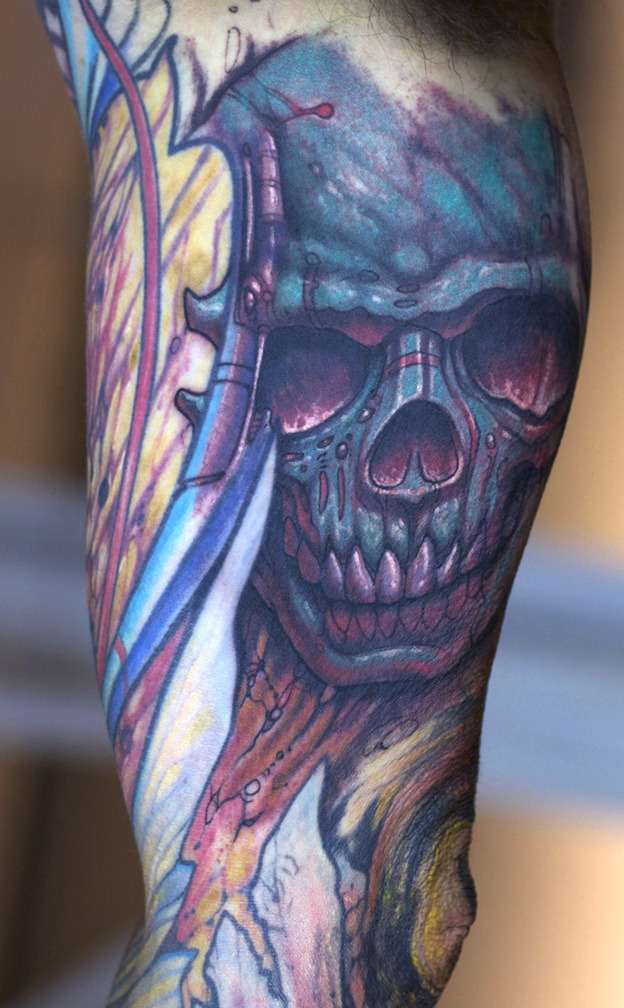 I started this skull on the bicep of Jason's in-progress biomech sleeve last night…. Artist: Paco Dietz    Studio: Graven Image Tattoo, Santa Clara CA