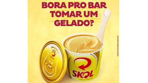 "Beer-flavored ice cream stirs controversy A Brazilian brewer is churning up controversy over an ad for beer-flavored ice cream that some claim could encourage children and adolescents to drink. Ambev brewery, the owner of the global beer brand Skol, has an ad that shows a yellow ice cream box with a beer lid, followed by the tagline, ""Shall we go to the bar to have an ice cream?"" According the AFP, the ice cream does not contain any alcohol, but the National Council for Self-Regulation, a non-governmental consumer watchdog group, claims that the ad will encourage underage drinking."