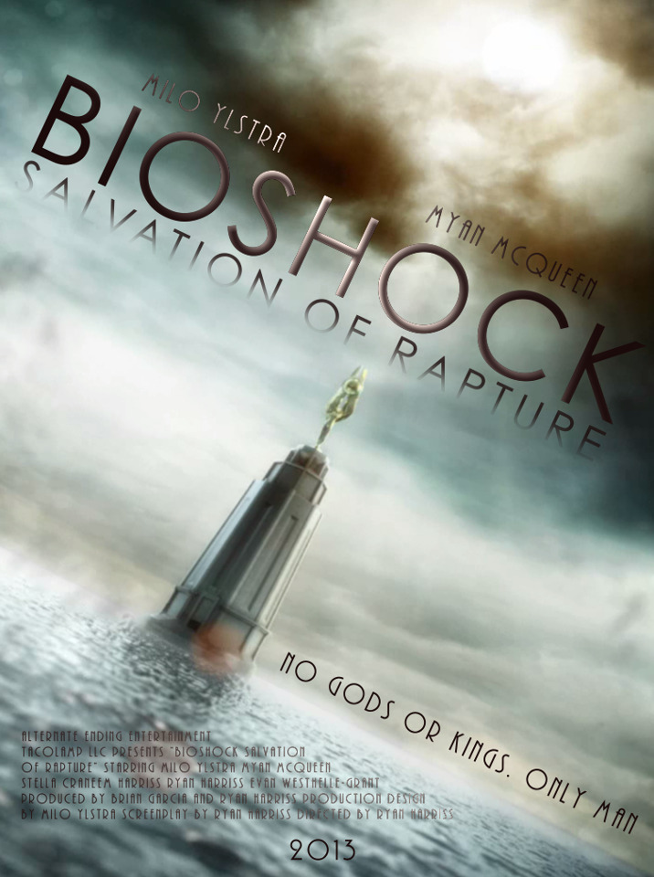 cocoaberries:  Bioshock: Salvation of Rapture is a film currently in development. The film will last 30-35 minutes and follows the story of Mark Meltzer as he tries to locate his daughter Jane, who is kidnapped by Ryan's activists on New Year's Eve. More information on the film can be found at its Facebook page. If you'd like to donate towards the funding of this film, please visit the Indiegogo page. Every dollar counts!Together, Bioshock fans, we can help to create an amazing Bioshock film, set in our beloved Rapture. :)