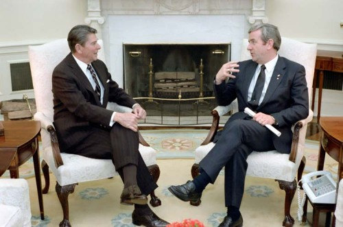 Ronald Reagan meeting with Jerry Falwell in the Oval Office. 3/15/83. -from the Reagan Library