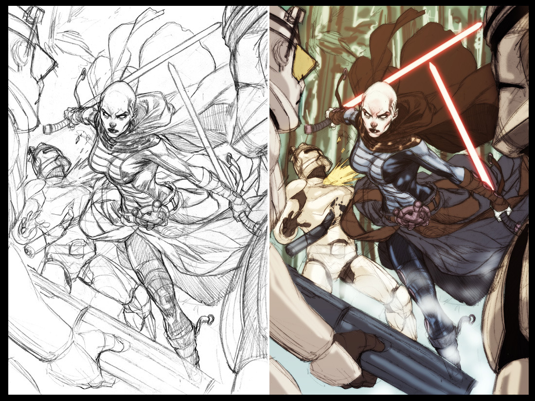 Amazing Asajj Ventress sketch and colour by diablo2003