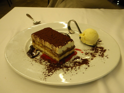 Tiramisu and ice cream in Bilbao, Spain. Taken April 2, 2011. Yes, is was as yummy as it looks and then some.