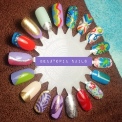 A Spring/Summer nail wheel I did today at the salon.