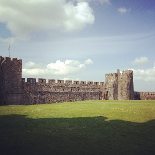 Birthplace of Henry VII. #cool #castle #pembroke #tudor #henryvii #henrytudor #king #wales #britain #welsh #castles #limestone #clouds #sky #green #grass #pembrokeshire #today