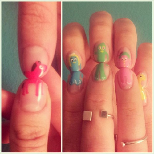 elsalonsito:  Gumby nails! :) Such a fun and nostalgic set. #nails #nailart #naillife #nailaddicts #gumby #elsalonsito