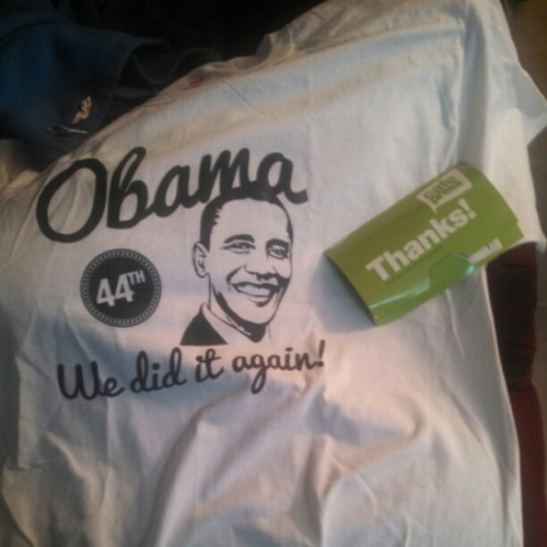 Mom hands me my shipment… I pull out an #obama shirt…. she says wow why didn't you get me one… I said do you want this one… she takes it… I only had shirt for 2 minutes… :(