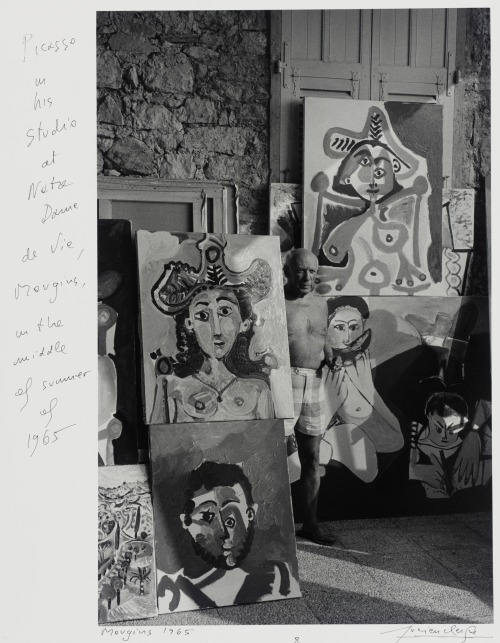 "mishproductions:  ""Picasso in his Studio of Mougins"" c.1965 -Lucien Clergue"
