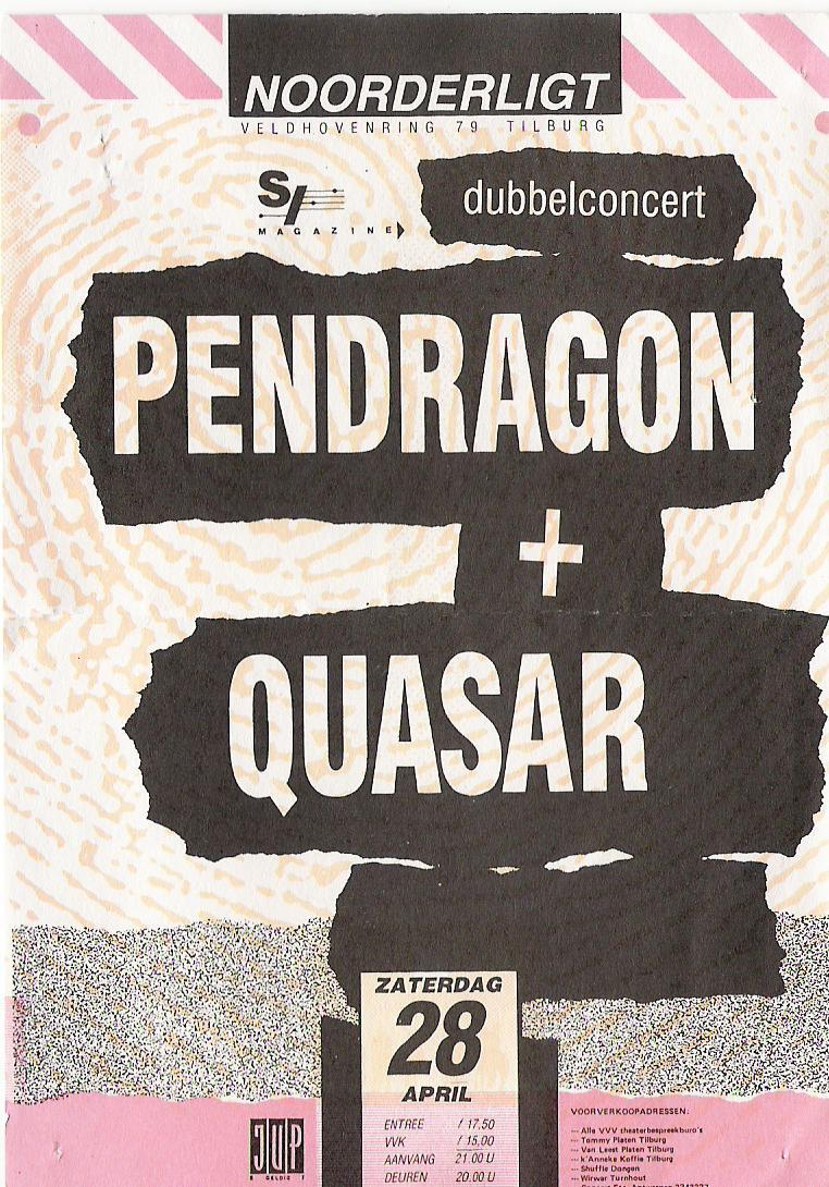 Concert tickets from the past: Pendragon & Quasar, live at Noorderlicht, Tilburg, Holland, apr.28th 1990