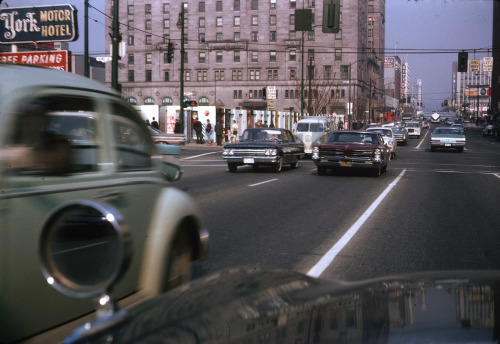 pasttensevancouver:  West Georgia Street, Thursday 7 April 1966 Source: Photo by Ernie H Reksten, City of Vancouver Archives #2010-006.076