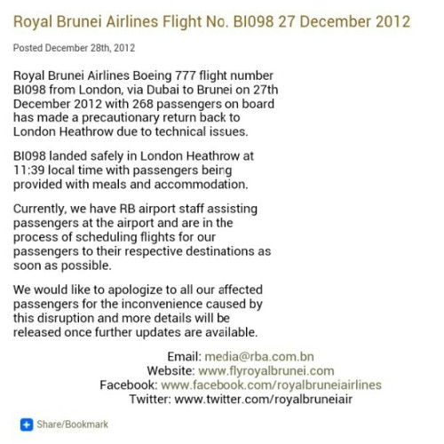 Alhamdulillah. All is good. I'm sure @royalbruneiair will be doing the best to sort it out. #royalbruneiair #rb #royalbrunei #pressrelease