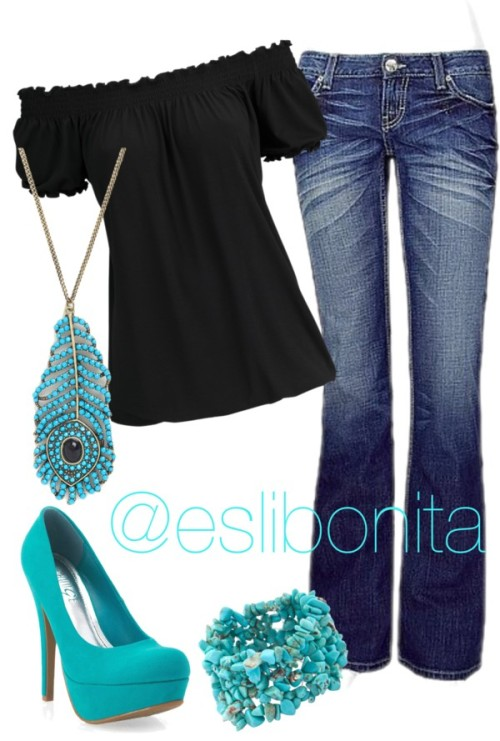 A touch of blue… by esli-medrano featuring low rise jeansGypsy top, $15 / BKE low rise jeans / Suede pumps / Chain necklace / John Lewis turquoise jewelry, $18
